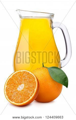 Orange juice pitcher or jug with oranges. Separate clipping paths for pitcher, for whole composite and for shadow. Infinite depth of field