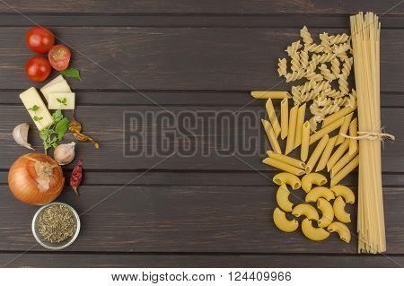 Pasta, preparation of a la carte menu. Decorations Italian restaurant. Preparation of domestic traditional dish. Place for text.