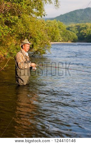 Fisherman on a mountain river catches of salmon (pink salmon). Far East Russia.