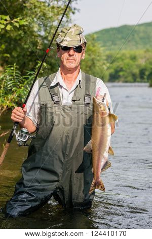 Happy fisherman keeps caught salmon (pink salmon) on the mountain river. Far East Russia.