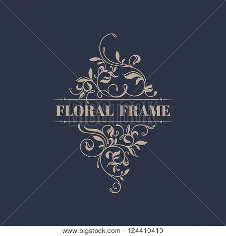 Floral frame. Template signage, labels, stickers, cards. Graphic design page. Classic design elements for wedding invitations.