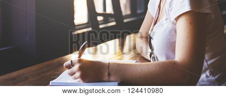 Woman Writing Thinking Working Concept