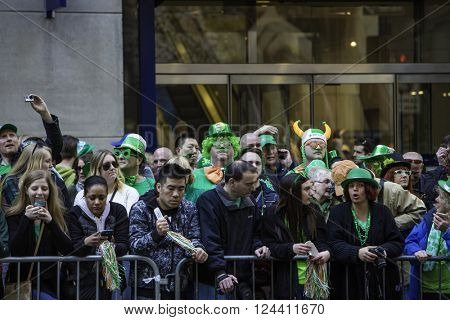 NEW YORK, NY, USA - MAR 17, 2016: The annual St. Patrick's Day Parade along fifth Avenue in New York City.