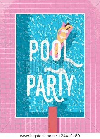 Pool party poster template with sexy woman in bikini sunbathing. 80s retro vintage style vector illustration. Eps10