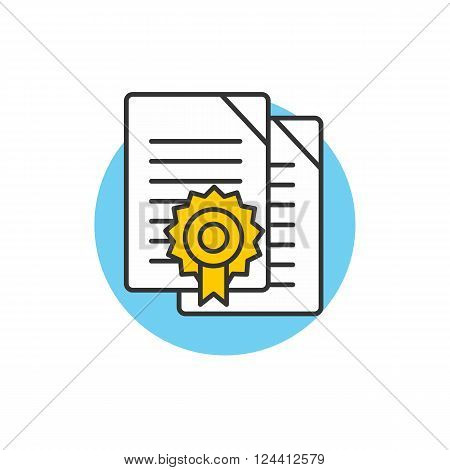 Diploma icon logo. Certificate symbol isolated. Certificate diploma border. Simple icon on white. Achievement diploma. Thin line vector illustration