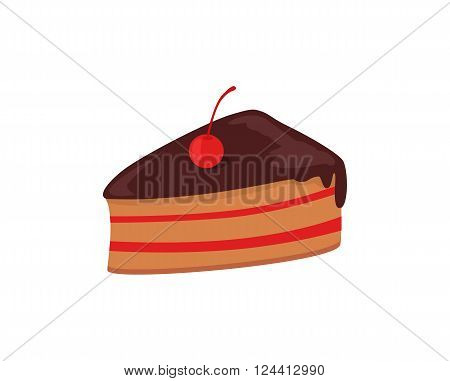 Part of cake with cherry design. Birthday or wedding cake slice, chocolate dessert cookies, cherry and chocolate, food sweet pie with, cream and fruit vector illustration