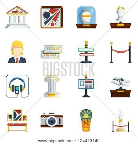 Museum flat icon set with colored abstract elements like pictures antique vase labels tickets sculptures and others vector illustration