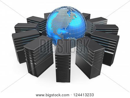 3D illustration of network workstation servers connected with world.