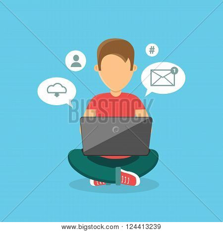 Computer user man isolated icon. Computer user office icon, person user computer human, web computer user vector illustration. Man sits and works at a laptop on his knees
