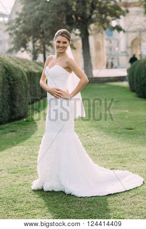 beautiful bride in Paris. romantic photos near eiffel tower