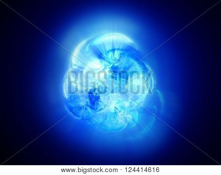 Blue glowing fusion in space computer generated abstract background