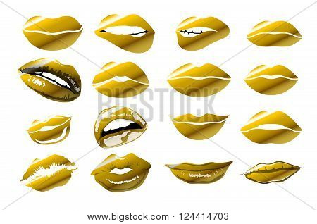 Lips  - Gold Vector Icon. Vector Illustration Of Kiss Print With Gold Shimmer