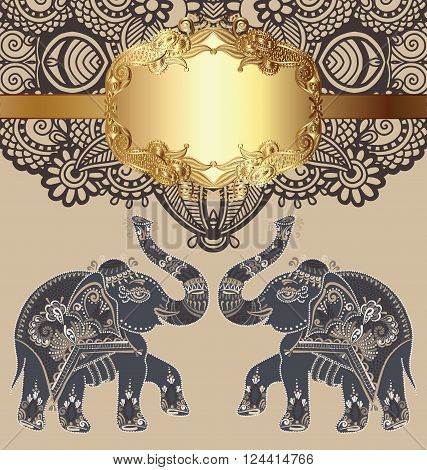 original indian pattern with two elephants for invitation, cover design, fabric pattern or page decoration, ethnic gold border on vintage flower background, vector illustration