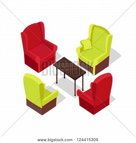 Chair and table isometric design. Table and chair isolated, office isometric furniture, room interior, home furniture indoor and office desk vector illustration
