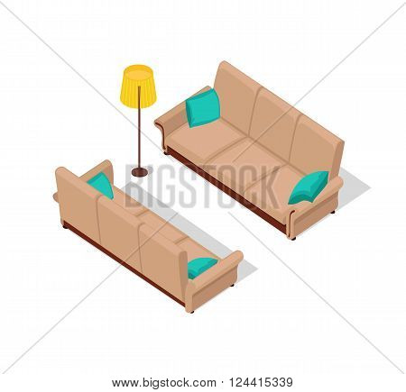 Sofa and lamp isometric design. Furniture isometric, interior sofa and lamp, room living furniture, house 3d domestic furniture and detail model vector illustration