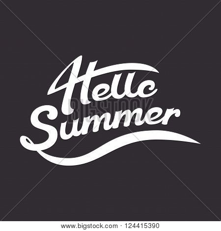 Vector summer illustration summer lettering is hand drawn white letters on a dark background Hello summer summer greeting summer logo and summer emblem for print and typographic design