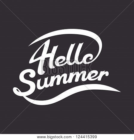Vector summer illustration summer lettering is hand-drawn white letters on a dark background Hello summer summer greeting lettering logo composition for poster and typographic design