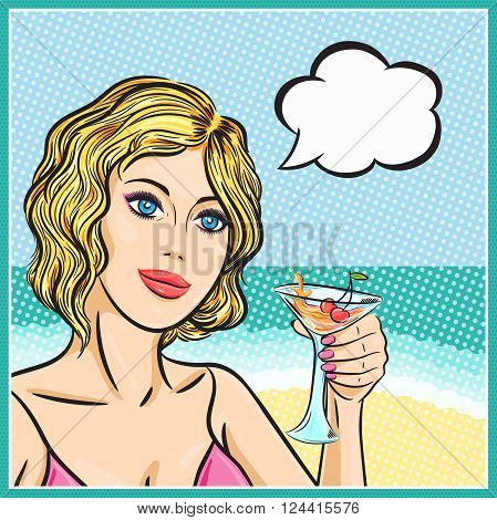 Retro woman on a beach with cocktail in pop art comic style. Vector beach woman smiling with thinking cloud.