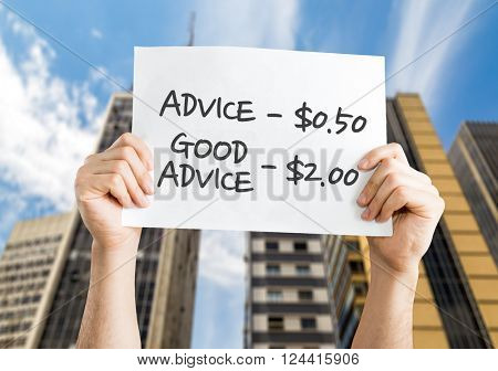 Advice - 0.50 / Good Advice - 2.00 placard with urban background