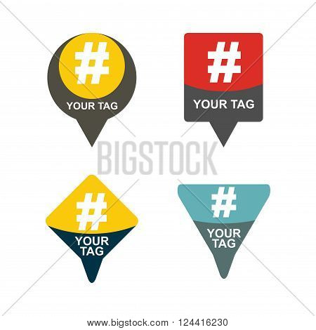 Hashtag communication sign set. Abstract illustration for your design.