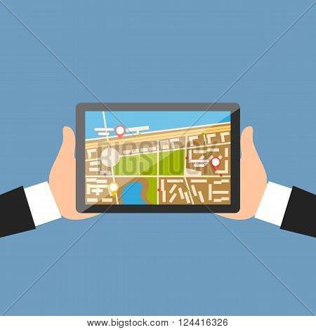 Hand with tablet navigation design. Gps and map, navigation map, gps mobile navigation tablet, technology internet gps device, device screen and communication vector illustration