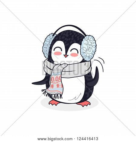 Animal penguin design flat. Bird penguin vector, cartoon polar animal winter isolated, penguin in scarf, wild penguin character in headphones illustration