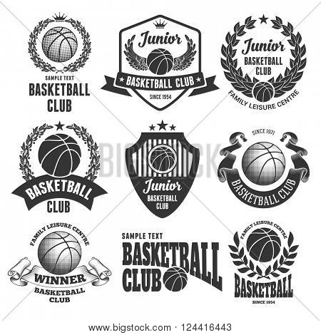 Set of Emblems, Logos and Labels on Basketball Theme and for Basketball Club. Vector Illustration. Isolated on White Background.