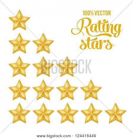Golden Rating Stars Set with Luxury Golden Glitter Texture. Isolated on White Background. Vector Illustration.