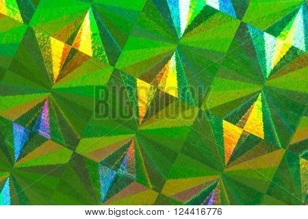 Green psychedelic abstract formed by light reflecting off a textured metal surface