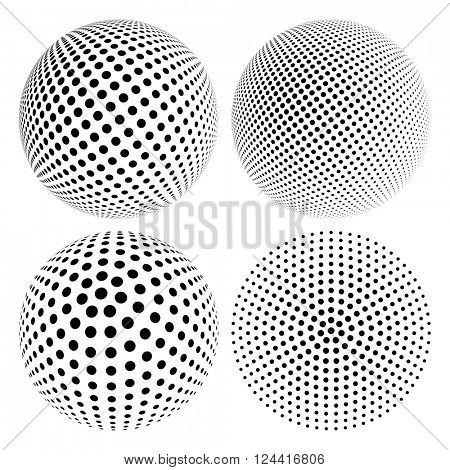 Set of Abstract Halftone 3D Sphere with Circle Dots. Futuristic Design Element in Techno Style. Vector illustration.