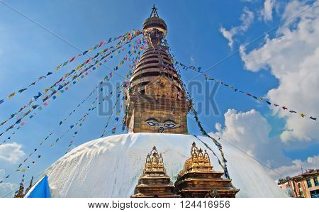 The Swayambhunath stupa, popularly known as the Monkey Temple, an important pilgrimage site for both Buddhists and Hindus in Kathmandu, Nepal