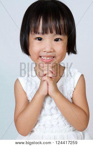 Asian Little Chinese Girl Praying