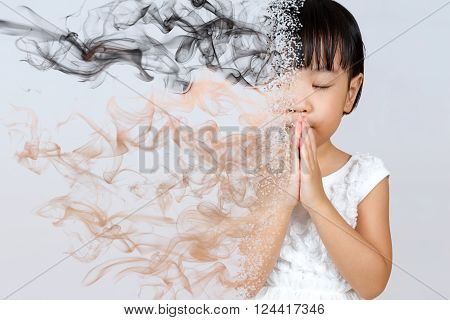 Asian Little Chinese Girl Praying