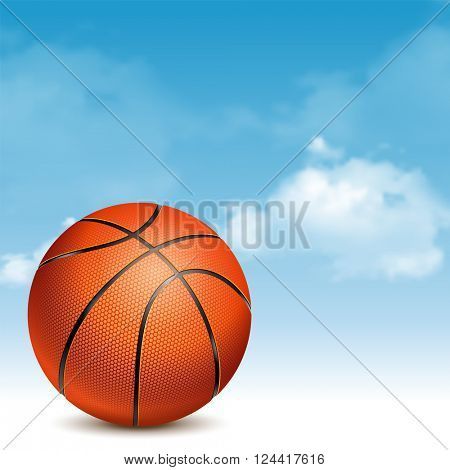Orange Basketball Ball with Pimples and Shadow on Cloudy Sky Background. Realistic Vector Illustration.