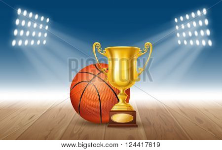 Realistic Golden Trophy Cup and Basketball Ball on Basketball Court. Winner Cup. Vector Illustration