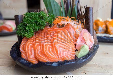 Raw salmon sashimi - japanese food concept