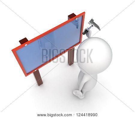 3D Man Hammering Nails On A Bill Board Concept