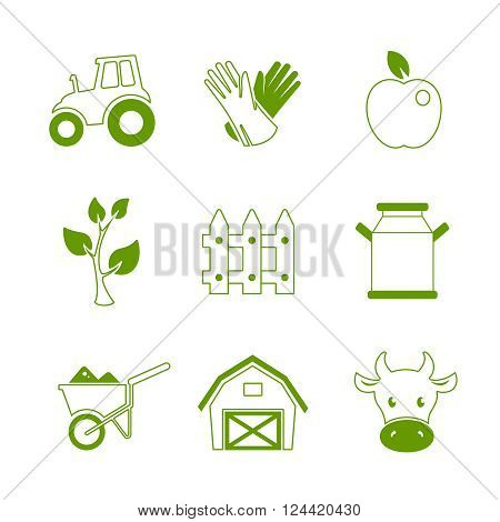 Farm linear icons and symbols. Editable vector set