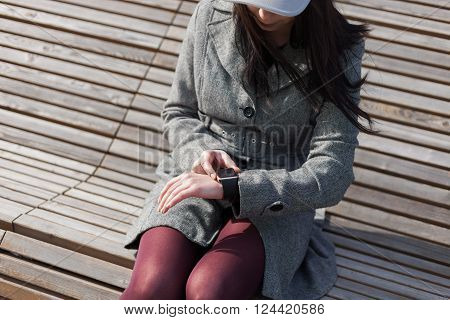 Woman Using Trendy Smart Watch