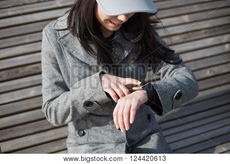 Girl Using Trendy Smart Watch