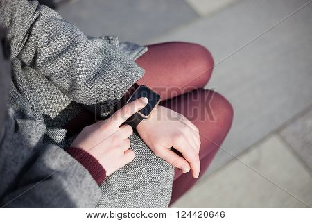 Woman Using Modern Smart Watch
