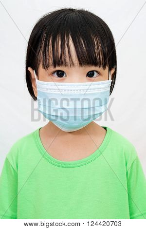 Asian Little Chinese Girl Wearing A Protective Mask