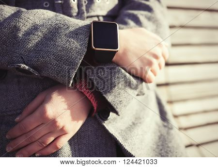 Girl Wearing Modern Smart Watch On Her Hand