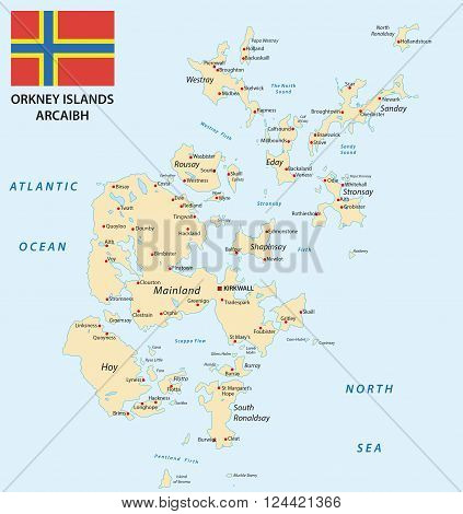 Highly detailed map of the Scottish orkney islands with flag