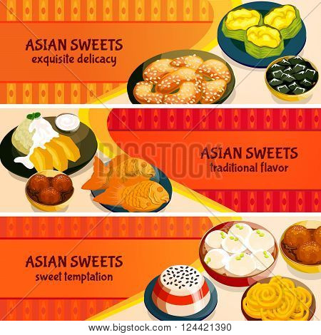 Asian sweets horizontal banners set with traditional flavor of exquisite delicacies isolated vector illustration