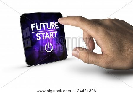 Finger about to press modern screen with the text future start white background. Concept image for illustration of innovation or strategic vision.