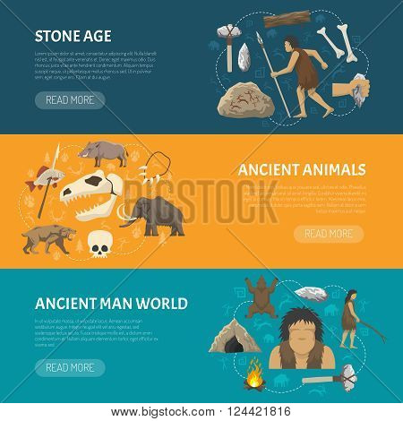 Horizontal banners about life ancient man and animals in prehistoric stone age isolated vector illustration
