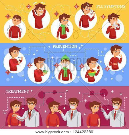 Flu illness horizontal banners with people cartoon icons described symptoms prevention and treatment of disease vector illustration