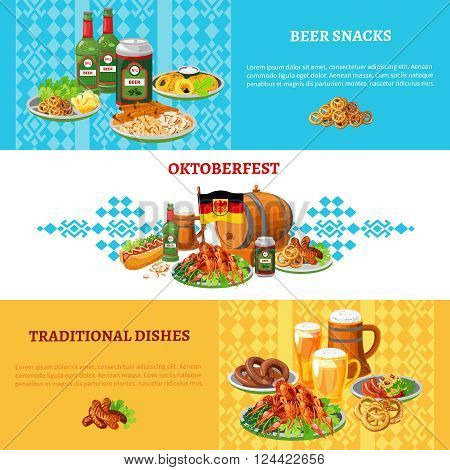 German traditional world largest folk festival ortoberfest 3 flat banners set with beer and snacks abstract vector illustration