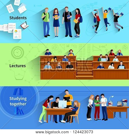 People at university flat horizontal banners with students studying together sitting in auditorium and happy jumping after exam vector illustration